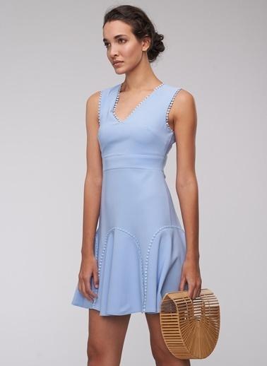 People By Fabrika Şerit Detaylı Mini Elbise Mavi